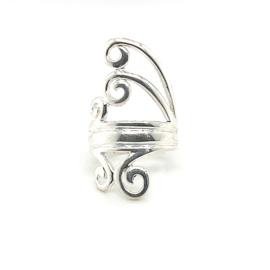 Zilveren ring vrije vorm mt 16 x 30 mm