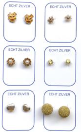 Zilveren oorknopjes variatie geel/ oranje