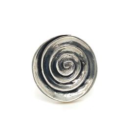 Zilveren ring vrije vorm geoxideerd mt 17 x 25 mm