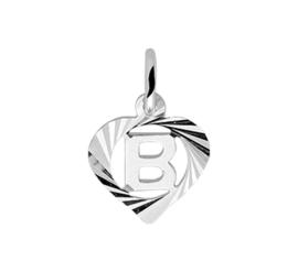 Zilveren bedel hartje met de letter B
