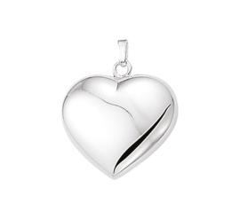 Zilveren bedel hart  25 mm