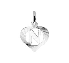 Zilveren bedel hartje met de letter N