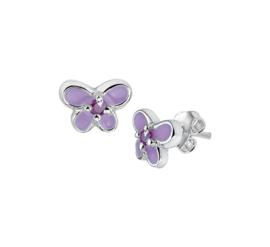 Zilveren oorbellen vlinders paars