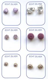 Zilveren oorknopjes variatie lila/paars