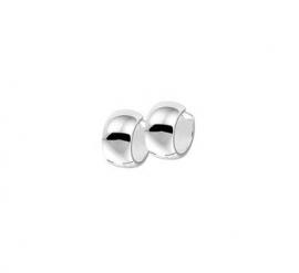 Zilveren klapcreolen bolle buis 5,5 x 10 mm