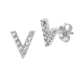 Zilveren oorknoppen v-teken zirkonia