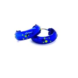 Zilveren oorringen blauwe creolen 11 mm