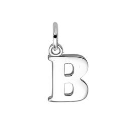 Zilver hanger letter B gerhodineerd