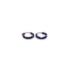 Zilveren oorringen  paars 8,5 mm