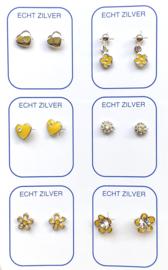 Zilveren oorknopjes variatie geel