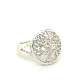 Zilveren ring levensboom 16,25 - 17  mt x 15 mm