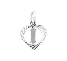 Zilveren bedel hartje met de letter I