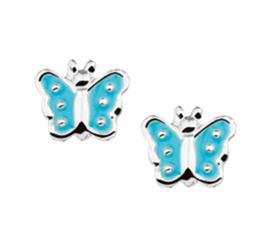 Zilveren oorbellen vlinders aqua