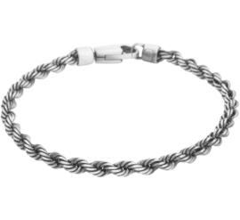 Zilveren armband koord oxi 20 - 22 cm