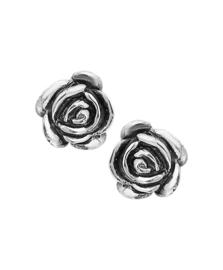 Zilveren oorsteker roosje 12 mm