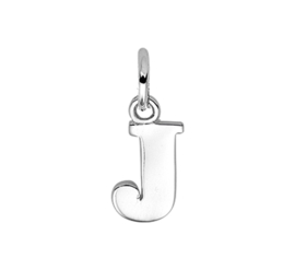 Zilver hanger letter J gerhodineerd