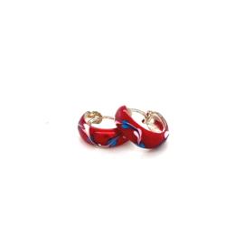 Zilveren oorringen  rood 13 mm