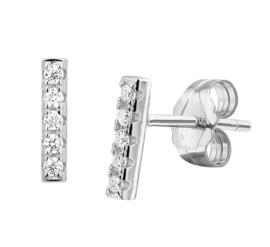 Zilveren oorknoppen staafje zirkonia rij 8 mm