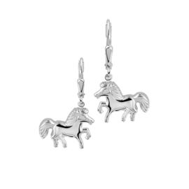 Zilveren kinderoorbellen paard hangers