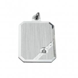 Zilveren graveerplaatje zirkonia 14 x 18 mm