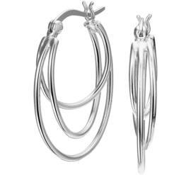 Zilveren oorbellen / creolen 3 ringen