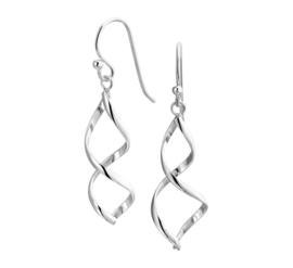 Zilveren oorhangers wokkels 40 mm