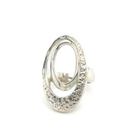 Zilveren ring vrije vorm mt 17 - 17,25 x 30 mm