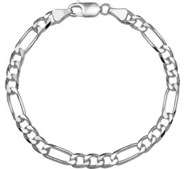 Zilveren armband figaro 5 mm x 19 -21 cm