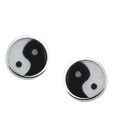 Zilveren oorknoppen yin yang 7 mm
