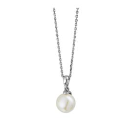 Zilveren ketting dames anker met parel 41 - 45 cm