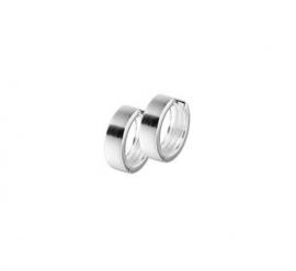 Zilveren klapcreolen vlakke buis  4 mm mat