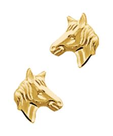 Gouden oorbellen paardenhoofd