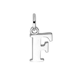 Zilver hanger letter F gerhodineerd