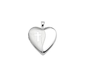 Zilveren bedel medaillon hart met kruis 21 mm gerhodineerd
