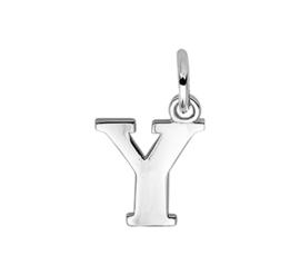 Zilver hanger letter Y gerhodineerd