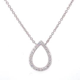 Zilveren ketting dames met druppel zirkonia 41 - 45 cm