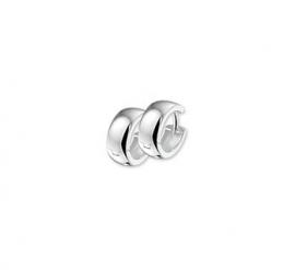 Zilveren klapcreolen bolle buis 5  mm