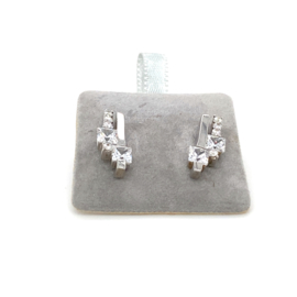 Zilveren oorknoppen stijlvol zirkonia 16 mm