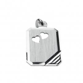 Zilveren graveerplaatje rechthoek hartjes 12 x 16 mm