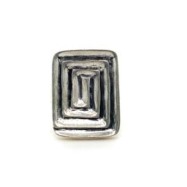 Zilveren ring vrije vorm geoxideerd mt 17,25 x 24 mm