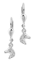 Zilveren kinderoorbellen paardenhoofd hangers