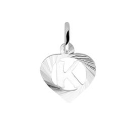 Zilveren bedel hartje met de letter K