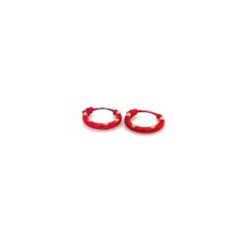 Zilveren oorringen  rood 8,5 mm