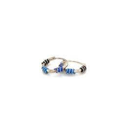 Zilveren oorringen  blauw en zwart 10 mm