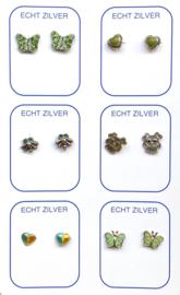 Zilveren oorknopjes variatie groen