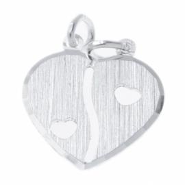 Zilver breekhartje mat met hartjes 17 x 19 mm