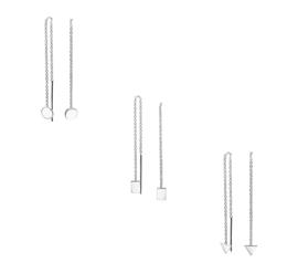 Zilveren doortrek oorbellen cirkel, vierkant en driehoek