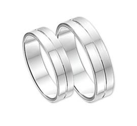 Zilveren ring mat en glad mt 16 - 21 - relatiering