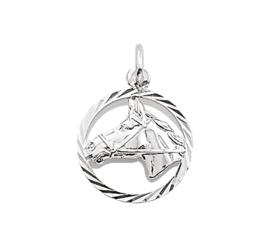 Zilveren bedel paardenhoofd in ring