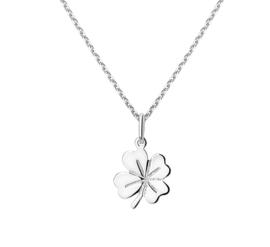 Zilveren ketting dames hanger klavertje vier 41 - 45 cm